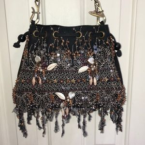 Mary Frances Black Beaded Bag